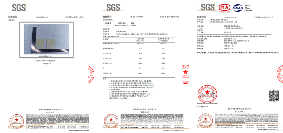 test report of Silver ion antibacterial agent